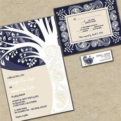 Custom Wedding Invitations - Modern Paisley Tree Invitation Suite | invitingmoments - Wedding on ArtFire