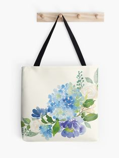 """""""Blue Watercolor Hydrangea"""" Tote Bag by junkydotcom Painted Bags, Hand Painted, Watercolor Flower Wreath, Bag Quotes, Creative Class, Tote Bags Handmade, Jute Bags, Fabric Bags, Quilted Bag"""