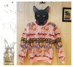 Animal Pattern Long Sleeve Sweatshirt. Rabbitcave