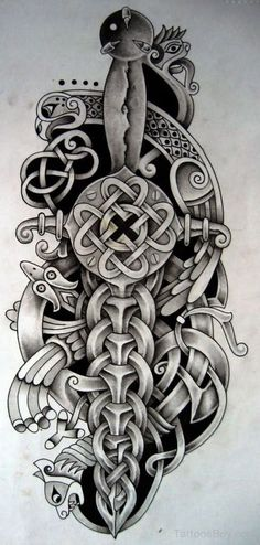 Knife And Dagger Tattoo Designs Celtic Warrior Tattoos, Celtic Sleeve Tattoos, Viking Tattoos, Armor Tattoo, Norse Tattoo, Dagger Tattoo, Tattoo Ink, Tattoo Symbols, Neue Tattoos