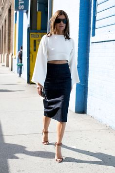 Even Carine Roitfeld bared her midriff. #streetstyle