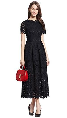 Merope J Womens Lace Round Neck Elegant Short Sleeves Gown Dress6Black -- Click on the image for additional details.