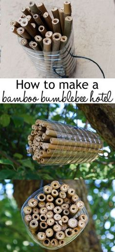 Wildlife garden: How to make an insect hotel Make a bamboo insect hotel for solitary bees! So easy and cheap, and it's perfect for pollinating bees to hibernate and lay their eggs. Help your garden wildlife! Garden Crafts, Garden Projects, Bug Hotel, Mason Bees, Bee House, Sensory Garden, Recycled Garden, Recycled Yard Art, Bamboo Crafts