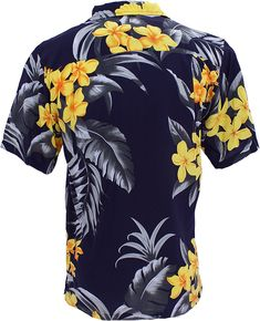 Men's Clothing, Shirts, Casual Button-Down Shirts,Tropical Luau Beach Floral Print Men's Hawaiian Aloha Shirt - Black/yellow - Button-Down Shirts Stylish Outfits, Fashion Outfits, Fashion Shirts, Tribal Shirt, Mens Clothing Styles, Men's Clothing, Aloha Shirt, Unique Dresses, Black N Yellow