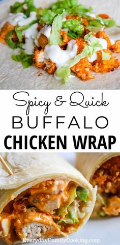 Easy crispy buffalo chicken wrap recipe How to make this hot homemade wrap Made with fried or air fried chicken lettuce and blue cheese It s perfect for dinners lunches or even as a Super Bowl party appetizer lunchideas easylunch chickenrecipeseasy Homemade Wraps, Homemade Lunch Ideas, Homemade Dinners, Homemade Recipe, Quick Lunch Recipes, Healthy Wrap Recipes, Quick Easy Lunch Ideas, Recipes For Wraps, Good Lunch Ideas