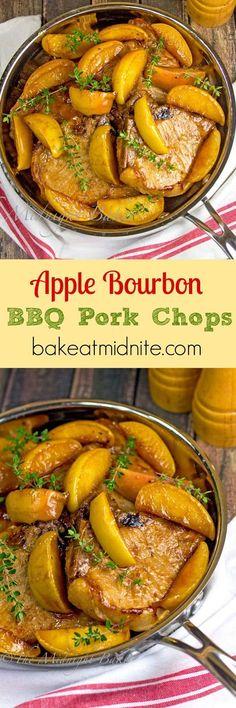 Apple Bourbon BBQ Pork Chops   bakeatmidnite.com