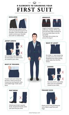In the market to buy your first suit? Whether it's for an interview, cocktail party, school formal/prom or a business convention. We've got you covered with this slick infographic. Here's 8 point criteria to grabbing the perfect first suit. Blue Suit Men, Navy Blue Suit, Navy Suits, Groom Suits, Groom Attire, Mens Style Guide, Men Style Tips, Formal Dresses For Men, Formal Prom