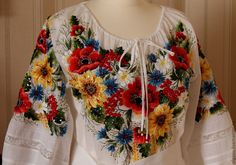 Embroidered white floral blouse - poppies & sunflowers! Click to enlarged