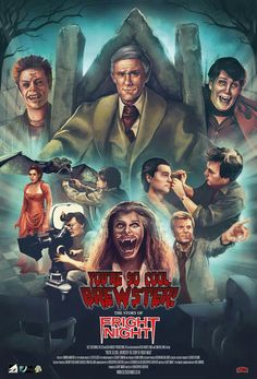 Horror Movie Poster Art : Fright Night 1985 by Dead Mouse Productions Horror Movie Posters, Movie Poster Art, Film Posters, Vampire And Werewolf Movies, Vampire Dracula, Dramas, Classic Horror Movies, Movie Covers, Classic Monsters