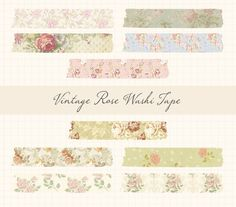Vintage Rose Digital Washi Tape by LilPika on Etsy, $5.00