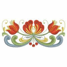 Ace Points Embroidery Design: Norwegian Rosemaling 2.13 inches H x 4.93 inches W