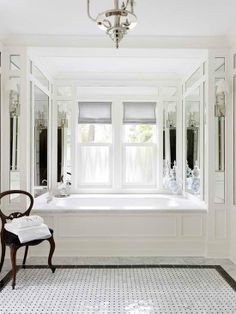 Black And White Bathroom Design Ideas With Victorian Style Bad Inspiration, Bathroom Inspiration, Dream Bathrooms, Beautiful Bathrooms, White Bathrooms, Tiled Bathrooms, Luxury Bathrooms, Concrete Bathroom, Concrete Counter