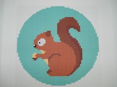 Squirrel cross stitch needlepoint tapestry by cupcakecutie1