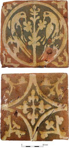 Medieval floor tiles from Wellington, Somerset