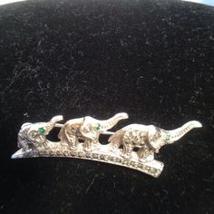 "Vintage Pin Elephant  Green Eyes 3 in Row Silver Color Rhinestones 1.5"" Small"
