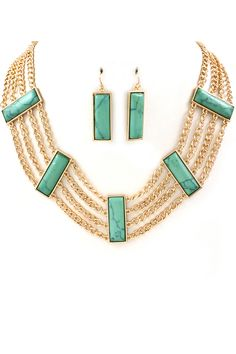 Turquoise Notte Necklace in Gold