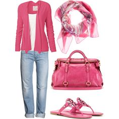 I have the pink sandals, jeans, and scarf. Need the hot pink bag and cardigan. Pink Outfits, Cool Outfits, Casual Outfits, Fashion Outfits, Womens Fashion, Fasion, I Love Fashion, Fashion Looks, Suits