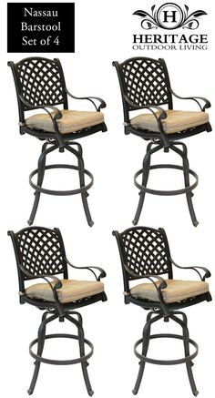 Heritage Outdoor Living Nassau Cast Aluminum Barstool - Set of 4 - Antique Bronze. 15-Year Frame Warranty - Heritage Outdoor Living products are sold through our Exclusive Amazon.com Retail Partner - Patio Import. Fully Welded, Solid Cast Aluminum Construction is 100% Rust Free!. Masterfully Crafted To Combine Comfort, Elegance, & Quality. Five-Stage Powder Coated Finish is the Toughest in the Outdoor Furnishings Industry - Antique Bronze Finish. Nassau Barstool with Walnut Seat Cushion -...