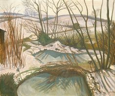 English Artists, British Artists, Landscape Art, Landscape Paintings, Acrylic Portrait Painting, John Nash, Frozen Pond, Winter Images, Tree Forest
