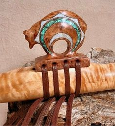 "Charlie Littleleaf flute, Curly Maple Native American Flute and Custom ""Circle of Life"" Bear Block - Turquoise and Mother of Pearl Inlay - tribal member of the Confederated Tribes of the Warm Springs Indian Reservation, Central Oregon."