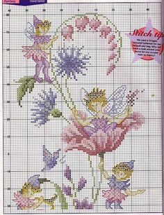 Cross-stitch Fairy flower, part 1.. Color chart on part 2 with bleeding hearts, bachelors buttons