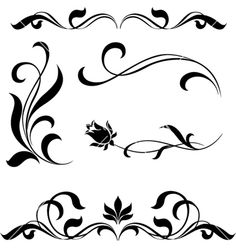 Set of floral elements vector 847326 - by Gizel on VectorStock®