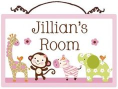 Personalized Jungle Jill Girl Animals Canvas on Wood Door Sign Plaque Nursery Decor Baby Girl Shower Gift Updated design Baby Shower Wording, Baby Shower Bingo, Girl Shower, Personalized Growth Chart, Personalized Signs, Baby Girl Nursery Decor, Nursery Ideas, Monkey Nursery, Rose Nursery