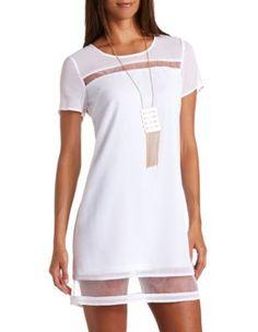 organza cut-out short sleeve shift dress