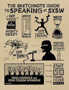 Sketchnote Guide to Speaking at SXSW (Kraft) by Mike Rohde, via Flick Sketchnotes I love it #Artscribe Артскрайбинг