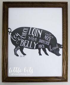 Free vintage butcher prints Pig Kitchen, Free Poster Printables, Diy And Crafts, Paper Crafts, Printable Paper, Free Printable, Baby Nursery Decor, Free Prints, Photo Displays