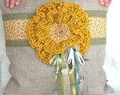 Burlap pillow with crochet yellow flower-Canvas pillow–crochet applique–38x38 cm or 15x15 inches-Country Chic–Country style home décor