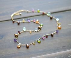 Artisan Made Gemstone Necklace, Multi Gemstone Briolettes, Garnet Topaz Sapphire Peridot, Gold Fill, Delicate 18 Inch