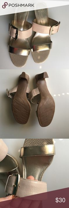 Anne Klein heeled sandals NWOT Anne Klein sandals. Two strap: gray-tan strap with buckle and second silver strap Anne Klein Shoes Sandals