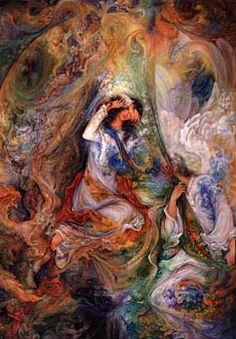A modern example of Persian miniature - Mahmoud Farshchian Graffiti Painting, Iranian Art, Princess Art, Magic Art, Islamic Art, Art Google, Painting & Drawing, Fantasy Art, Street Art