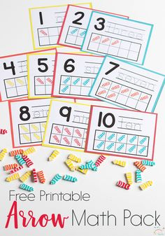 Do you love Dollar Spot mini erasers? This arrow mini eraser activity pack for preschoolers is full of great math activities! Counting, sorting, matching, patterns and more! via @lifeovercs