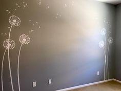 A DIY stenciled nursery accent wall using the Dandelion Stencil from Cutting Edge Stencils. http://www.cuttingedgestencils.com/dandelion-stencil.html