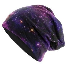 MasterDis Printed Jersey Beanie Galaxy ❤ liked on Polyvore featuring accessories, hats, beanies, hair, purple, galaxy hat, beanie cap, beanie cap hat, beanie hats and purple hat