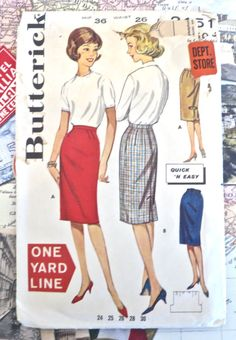 Vintage 190s Womens Slim Skirt Pattern - Butterick 2151 by Fragolina on Etsy