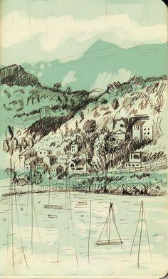 Port de Soller - Mallorca by Martin Lee, via Behance