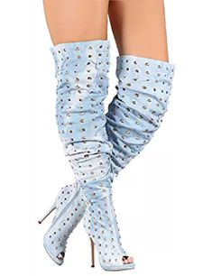 Wide Calf Studded Spike Slouchy Over The Knee Boots - Stiletto Peep Toe Platform Boots