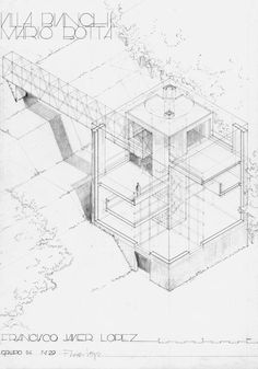 Villa Bianchi, Mario Botta, sketch, architectural drawing, diagram