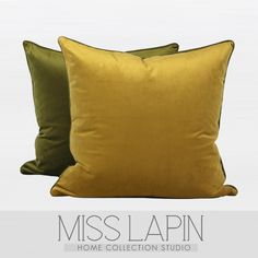 MISS LAPIN简约现代/样板房靠包抱枕/芥末绿芥末黄绒布撞色方腰枕-淘宝网