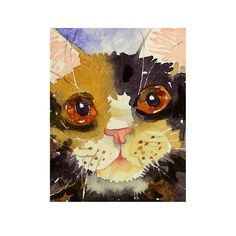 Cat Art Calico cat art  watercolor painting print  home by LaBerge...I love this.