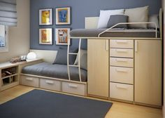 small teen bedroom design ideas by sergi mengot - small house, small home, tiny house, tiny home, small spaces, small space living, space-saving, compact, bedroom, bed, teenager, tween, closet, dresser