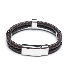 Polished Coffee Leather Bracelet, Stainless Steel Clasp, 00504