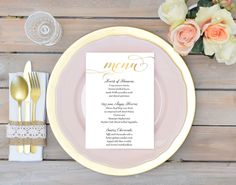 Floral Wedding Menu Printable Boho Chic By Darlingpapercompany