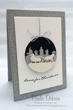 Christmas bauble card using stampin up Sleigh Ride framelits By Paula Dobson