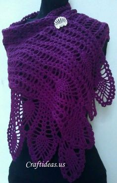 crochet pineapple scarf for women