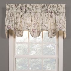 The Abigail Scalloped Valance features a printed hydrangea pattern in lovely lilac and sage tones. This traditional floral valance in cotton will add instant charm to any space. Bottom edge of the valance is finished with a self cord. Valences For Windows, Window Cornices, Curtains With Blinds, Valance Curtains, Chevron Valance, Lilac Bedding, Farmhouse Kitchen Inspiration, Custom Valances, Christmas Porch