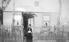 Negative of Ellen Carson, outside what was probably her family home. According to Sands & McDougall Directories, John A Carson lived in Victoria Street Footscray at this date. Melbourne Victoria, Victoria Australia, Melbourne Suburbs, Australian Homes, Historical Images, People Of The World, Melbourne Australia, Tasmania, Vintage Photography